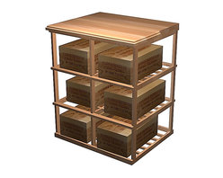 Wine Cellar Innovations - Designer Series Wine Rack - Wood Case Storage Tasting Table - Add a functional working space and extra wine case storage to your wine cellar with a Designer Series Wood Case Storage Tasting Table. This unit was designed to allow for integration of single deep wine racking on either side of it, so it could be designed into a wall layout. Nosing on the sides of this table are offered standard to accommodate for this, finished only to where a single deep wooden wine rack would be applied