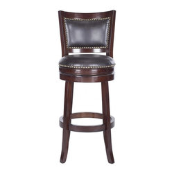 Safavieh - Lazzaro Bar Stool - With its elegant low-profile backrest, the Lazzaro swivel barstool is as comfortable as it is good-looking. Upholstered with dark brown PU leather with bronze nailhead trim, this barstool is crafted of eco-friendly rubberwood in a sierra brown finish.