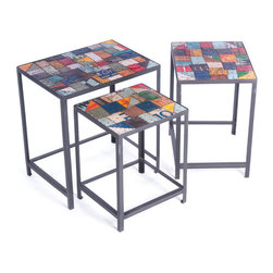 Passport Nesting Tables - Add the finishing touch to your furniture set with this unique accent piece. Inspired by a love of travel, this set of tables can be paired, nested, or distributed in a variety of ways- change it up as you please! No matter how you pair them, these colorful tables will create dimension to your set while keeping uniform.