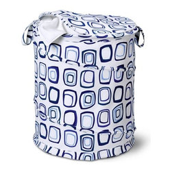 Large Patterned Pop Open Hamper, Blue Squares - Honey-Can-Do HMP-01137 Large Pop-open with Lid, Spiral Hamper, blue print.  Want a hamper with a big pop? Now you've got it. This large poly-cotton hamper pops-up to open and easily compresses flat when not in use. The cotton material is durable and stain resistant and the top zips up to keep contents concealed. Useful carrying handles make transporting clothes to the laundry room, Laundromat, or dry cleaner a breeze. Keep clothes off of the floor and your space neat and clean with this practical and fun hamper.