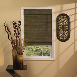 Taos - Tahiti Green 64-inch Tea Roman Shade - Add a warm natural feeling to any room with these brown bamboo Roman shades,which are made with thin pieces of textured bamboo. The shades are designed to filter the light,and create a warm atmosphere without sacrificing your privacy.