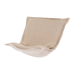 Howard Elliott - Prairie Linen Natural Puff Chair Cushion - Au Natural. Extra Puff cushions in Prairie Linen are a great way to rejuvenate your look without the expense of buying a whole new chair! Puff cushions fit Scroll and rocker frames. Because of its simplicity, the Prairie Linen Puff cushion will fit right into any room of your home. This Prairie Linen Natural piece is 100% linen finished in natural linen. 40 in. W x 49 in. L x 7 in.