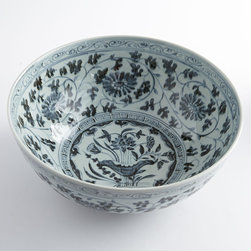 HAND-PAINTED BLUE CORNFLOWER BOWL - NEW - Elevate your dining status with this handcrafted bowl. Reminiscent of days past, when your best china was displayed in a cabinet and only used for special occasions. The hand-painted floral design is both detailed and delicate. Glazed and watertight, so you won't have to wait to showcase this elegant piece.