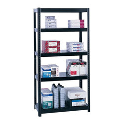 Safco - 36 in. Wide Boltless Shelving in Black - Flexible design. Allows two different set-ups: 5-shelf 72 in. H storage unit or 36 in. H workbench. Requires no nuts or bolts. Assembles in minutes without tools. Adjustable shelf with 1 in. increments. Shelf holds up to 1000 lbs.. 22 ga. thick shelf and 18 ga. thick post. GREENGUARD Certified. Made from steel. Durable powder coat finish. 36.5 in. W x 18.25 in. D x 72 in. H (60 lbs.). Assembly InstructionNo bolts about it! With Boltless Shelving you're sure to get the storage space you need. These shelves are designed to get your office organized and keep it that way. Easily store office supplies, break room supplies, paper, marketing materials and other supplies so they are easy to find and incur no damage. Great for your supply room, storage area, mail room, warehouse, storage closet, garage area or even a classroom, assembly area or production area. Get storage where you need it, and always be able to find what you're looking for!