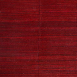 """ALRUG - Handmade Red Oriental Kilim  8' 3"""" x 9' 7"""" (ft) - This Afghan Kilim design rug is hand-knotted with Wool on Wool."""