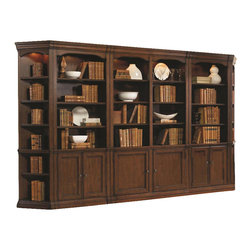 """Hooker Furniture - Cherry Creek Wall Bookcase - White glove, in-home delivery included!  Includes furniture assembly!  Wall Bookcase only. (Shown with Cherry Creek modular wall system.)  The Cherry Creek modular wall system allows you to design the function you need at a price much more affordable than custom built systems. Six adjustable wood-framed glass shelves, two stationary shelves, two wood-framed doors open to reveal one adjustable shelf behind each door, two lights controlled by three-intensity touch switch, levelers, stained top.  Bottom Opening (2) (max height): 24 13/16"""" w x 13 1/2"""" d x 26"""" h  Opening inside end panels: 24 13/16"""" w x 14 1/8"""" d x 51 5/8"""" h  Opening inside pilasters: 23"""" w x 14 1/8"""" d x 51 5/8"""" h"""