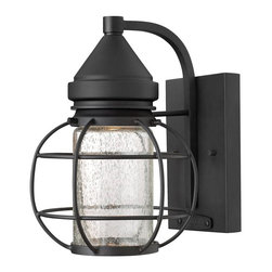 Hinkley - Hinkley-2250BK-New Castle - One Light Small Outdoor Wall Mount - The New Castle collection gives this traditional lantern design a modern twist with a recessed light source inside a seedy glass cylinder. The solid aluminum construction in a durable powder coat Black finish is Dark Sky compliant.   Black Finish with Clear Seedy Glass  Lamp Quantity: 1  Lamp Type: GU10  Wattage: 35  Voltage: 120  Bulbs Included: Yes  Material: Aluminum