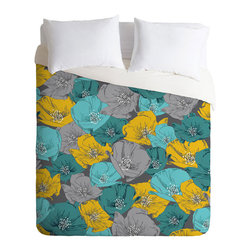 Retro Dreams Duvet Cover - Top your bed with a flower arrangement that will be sure to inspire fantastical dreams without being overly sweet. Made from medium-weight woven polyester with a hidden zipper and interior ties to secure your comforter, this duvet will be sure to spruce up your bedroom.