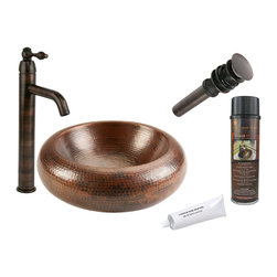 """Premier Copper Products - 15"""" Blooming Vessel Copper Sink w/ ORB Faucet - PACKAGE INCLUDES:"""