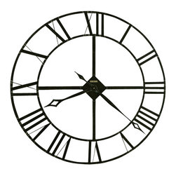 Howard Miller - Howard Miller 32'' Wrought Iron Wall Clock | Lacy - Mount this wrought iron clock in your living room, bedroom or office for a touch of vintage appeal. Featuring stamped Roman numerals and a dark charcoal gray finish with silver highlights, it's destined to become a timeless addition to your home.