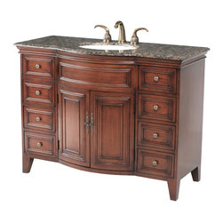 "Stufurhome - 48"" Yorktown Single Sink Vanity with Baltic Brown Granite Top - Features"