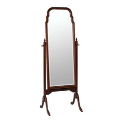 Cooper Classics - Cooper Classics Queen Anne Cheval Beveled Mirror, Cherry - The Queen Anne Cheval will add classic elegance to any room. This lovely birch wood cheval mirror is finished in cherry and features a beveled glass.