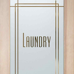 "Laundry Room Doors - Ultra - CUSTOMIZE YOUR GLASS LAUNDRY ROOM DOOR DOOR!  Glass Laundry Doors and laundry door inserts!  Highest quality and largest selection of frosted glass laundry room doors available anywhere!  Shipping is just $99 to most states, $159 to some East coast regions, custom packed and fully insured with a 1-4 day transit time.  Available any size, as laundry door glass insert only or pre-installed in a door frame, with 8 wood types available.  ETA for laundry doors will vary from 3-8 weeks depending on glass & door type.........Lighten your load with a beautiful obscure, decorative glass laundry room door by Sans Soucie!   Select from dozens of frosted glass designs, borders and letter styles!   Sans Soucie creates their laundry door obscure glass designs thru sandblasting the glass in different ways which create not only different effects, but different levels in price.    The ""same design, done different"" - with no limit to design, there's something for every decor, regardless of style.  Inside our fun, easy to use online Glass and Door Designer at sanssoucie.com, you'll get instant pricing on everything as YOU customize your door and the glass, just the way YOU want it, to compliment and coordinate with your decor.  When you're all finished designing, you can place your order right there online!  Glass and doors ship worldwide, custom packed in-house, fully insured via UPS Freight.   Glass is sandblast frosted or etched and pantry door designs are available in 3 effects:   Solid frost, 2D surface etched or 3D carved. Visit our site to learn more!"