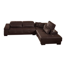 Creative Furniture - Bella Brown Bonded Leather Sectional Sofa - This Bella Brown Leather Sectional - Creative Furniture is made of 1.8 millimeter thick heavy stock  which makes it one of the most comfortable and lavishly beautiful sectionals on the market. The tufting indentation on the Bella's leather is one of many design touches that make this sectional stand out as one of the most beautiful sectionals on the market today. You can just sink into the Bella and relax all your cares away as your living room becomes your safe haven and your sanctuary away from the worries of your daily hustle and bustle. The Bella also features expandable headrests that allow each person sitting to have the individual seating experience they want. The headrests feature Light Touch Fluid mechanisms which allow you to adjust the position of the headrests from any position without any Clicking-In which generally limits your ability to pick the exact right angle that your neck requires. Its wenge wooden legs perfectly contrast Bella's color and make the perfect final touch to this amazing sectional.    Features
