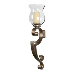 Uttermost - Loran Metal Wall Sconce - Hand forged metal sconce finished in heavily antiqued silver champagne with a clear glass globe