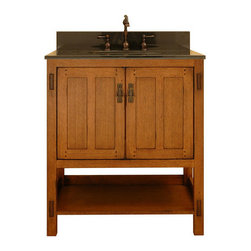 "Sagehill Designs - Sagehill Designs AC3021 Rustic Oak American Craftsman 30"" Oak Wood - American Craftsman 30"" Vanity Cabinet  Based on the design elements of the American Arts and Crafts Movement, Sagehill Designs introduces the American Craftsman Vanity. Ample scale and proportions combined with simple lines make this design a new classic. Featuring exposed tenons and vertical design elements, the design exemplifies the ""less-is-more"" aesthetic. Add the final touch of matching period hardware in an antique brass finish and the result is dramatic yet relaxed. This collection appeals to those who desire a bath environment that is casual and relaxed.     Product Features:    Overall Dimensions: 30""W x 21""D x 34""H  Constructed of Oak hardwoods   Oak wood veneers (real wood)  Classic ""Mortise and Tenon"" arts and crafts design.  2 door cabinet provides ample storage   Rich oak double panel door with exposed dowels.  Finished cabinet interior  Multi-step hand rubbed finish brings out the depth and beauty of the wood.  Period style matching antiqued cabinet hardware.  Adjustable floor levelers  Crated and shipped assembled   Available in three sizes: 30"" (this model), 36"" (AC3621D), and 48"" (AC4821D)       Special Note:    The 6 additional images (found near the top of this page, to the right-and-down of the main photo) contain photo s of the 36"" version of this model (unit with 3 drawers - AC3621D), but still provide referrence for design characteristics and finish.  The main photo located above is the accurate depiction and what to expect when this 30"" model is ordered."