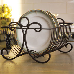 Cavalos Plate Rack - Your beautiful dinnerware can now be displayed, organized or drained after washing on our useful and elegant iron plate rack. Finished in Montana Rustic, this will be a household object of beauty on your kitchen counter—no more hiding the dish drainer under the sink! Holds up to 12 plates.