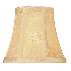 "Lite Source - Golden Jacquard Clip-On Candelabra Shade 3"" - A beautiful golden floral jacquard candelabra shade."
