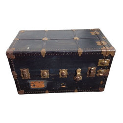 Wonderobe Steamer Trunk Circa 1900 Made by Seward - Feeling like you need to pack your bags and book your behind out of town? This fully functional travel wardrobe made by Seward Trunk and Bag Co in the early 1900's is just the thing for you. Or if you're stuck inside on house arrest, this piece is still a gorgeous way to story and display your clothing. It has a black exterior and blue interior with drawers and hanger poles extends to give access to hanging clothes.  There is some wear and tear but bearing in mind the use and travel this truck has seen, it is still a wonderful piece with a ton of history.