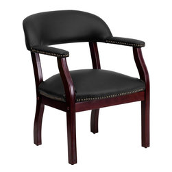 """Flash Furniture - Black Leather Conference Chair - This elegant reception/conference chair features upholstered arms, a contoured back, a solid hardwood mahogany frame, and individual brass nail head trimming. This chair will complement reception areas, libraries or your office as a guest chair.; Traditional Captain's Chair; Individual Brass Nail Trim on Arms and Seat; Sculpted Arms; Padded Leather Upholstered Arms; Padded Leather Upholstered Arms; Black LeatherSoft Upholstery; LeatherSoft is leather and polyurethane for added Softness and Durability; Solid Hardwood Mahogany Frame; CA117 Fire Retardant Foam; Meets and/or Exceeds all ANSI/BIFMA Standards; Weight: 27 lbs; Overall Dimensions: 24""""W x 25""""D x 30""""H"""