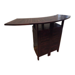 GlobeWiz - Expandable Teak Bar Counter with Cabinet + Umbrella Holder - This teak bar counter offers elegance, durability and versatility at the same time.  It works for both indoor or outdoor purposes.  It is expandable so you can easily have up to four people sitting together at the bar counter.  Key features: