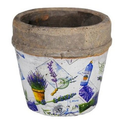 100 Essentials Patchwork Flower Pot - Lovely Patchwork Flower Pot made from stoneware. Antique look. This item is available in three sizes. Use indoors-outdoors. Weather-resistant.