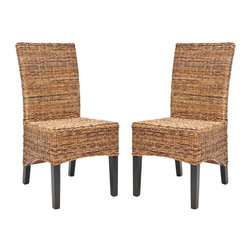 Safavieh Furniture - Wicker Natural Tan Side Chair - Set of 2 - Set of 2. Long sleek back for exceptional comfort. Made from multi-brown abaca normal weaving. No assembly required. 18.5 in. W x 23.6 in. D x 38.6 in. H (27 lbs.)Great addition to any home decor.