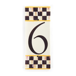 Courtly Check House Number - 6 | MacKenzie-Childs - If there's no second chance at a first impression, make yours count! Ceramic numbered tiles are bordered, top and bottom, with Courtly Checks and sunny yellow edges; flank each side with an end cap to finish the frame.