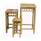Bamboo54 - 3 Pc Bamboo Nesting Table Set in Graduated He - The set features a large stool and two smaller stools. This unique set of three bamboo stools can be used as tables or plant stands. Crafted of natural bamboo, these stools can nest together or be used separately. Perfect for plants and perfect for guests, add a tropical accent today! This set will complement your decor indoors or outdoors. * Set includes 3 Square High Nesting Stools. Made of Bamboo. Fully assembled. Small: 9 in. W x 9 in. L x 18 in. H. Medium: 12 in. W x 12 in. L x 24 in. H. Large: 16 in. W x 16 in. L x 30 in. H