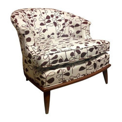 Mid Century Club Chair w/ Hable Fabric - This absolutely adorable Mid-Century club chair has been reupholstered from the frame out using gorgeous Hable Construction Chocolate Fig fabric. Fully rehabbed and ready to go, this is a super special chair!
