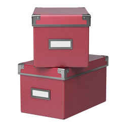 Kassett Box With Lid, Dark Pink - I love these boxes. I have used a few in my office, and the larger ones are perfect for stashing things in my kids' closets on the top shelf. The price is right and low, so you can get several of them.
