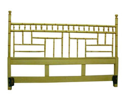 Pre-owned Faux Bamboo Chinese Chippendale Headboard - King - Chinese Chippendale style headboard in original yellow finish.  This trendy faux bamboo design can be the inspiration piece for a variety of designs.  The finish is slightly worn in a few places, see pictures.