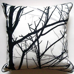 Branches in Black Pillow by Designed by Annabelle - There's something hauntingly beautiful about this black, white and gray handmade pillow cover. Spooky? Perhaps. Versatile? Definitely. The striking image will pop on your couch just as much as a more colorful cushion would.