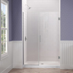 "Dreamline - Unidoor Plus 46-1/2 to 47""W x 72""H Hinged Shower Door - The Unidoor Plus Shower Door from DreamLine, the only shower door you need to complete any shower project. The UNIDOOR combines premium 3/8"" thick clear tempered glass with a sleek frameless design for the look of custom glass at an amazing value. This collection is extremely versatile with an incredible range of sizes to accommodate shower openings from 23"" to 61"" in width. With clean lines, modern touches and an upscale look, the UNIDOOR Plus gives a breath of fresh style to any bathroom space."