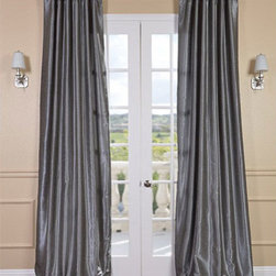 Half Price Drapes - Storm Grey Vintage Textured Faux Dupioni Silk Single Panel Curtain, 50 X 108 - - Stormy skies ahead! Faux Silk Dupioni curtains in Storm Grey have undertones of silver and titanium, enhancing the palate for any space. Our Faux Silk Dupioni curtains have a slight sheen that mimics the finest textured Dupioni silk. These curtains bring the look of luxury without the cost or high-maintenance care. Built-in are two header designs within a single panel: attached back tabs for a formal pleated look and traditional pole pockets.   - Single Panel   - 3 Rod Pocket with Back Tab   - Pole Pocket with Back Tabs   - Dry clean   - 100% Polyester Dupioni Fabric   - Lined with a cotton blend material  - 50x108   - Imported   - Grey Half Price Drapes - PDCH-KBS7-108