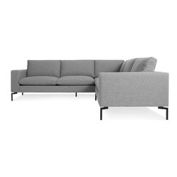 Blu Dot - New Standard Sectional Sofa - Small, Spitzer Grey / Black - Sometimes it is not about starting from scratch, but rather revisiting past designs and making them better. The New Standard is simplicity at its best with a twist. Now new and improved. Wide arms and inviting loose cushions all come together with tuned proportions and show stopping legs.  Available in four fabrics, two leathers, two leg finishes and an array of shapes to suit any space.Kiln-dried American hardwood frame, High resiliency foam cushions with feather down wrap, White or Black powder-coated steel legs, Sectional connector hardware included , Nixon Blue / Red / Sand: 46% Acrylic / 43% Cotton / 11% Polyester.  Spitzer Grey: 100%