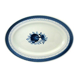 Royal Copenhagen - Royal Copenhagen Tranquebar-Blue Oval Serving Platter - Royal Copenhagen Tranquebar-Blue Oval Serving Platter