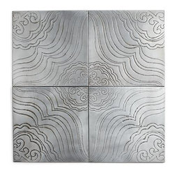 Set of 4 Jacinto Wall Art - A traditional technique informs these beautiful, handmade panels that configure various ways for completely different looks, from symmetrical to abstract. Fanciful, flowing designs are punched on four antiqued zinc panels that will develop a rich patina over time. Double keyhole hooks on the reverse of each allow them to hang in different directions.