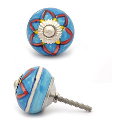 """Knobco - Ceramic Knob, Red, Yellow & Turquoise - Red and Yellow design with Turquoise base ceramic knob, perfect for your kitchen and bathroom cabinets! The knob is 1.5"""" in     diameter and includes screws for installation."""