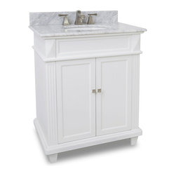Hardware Resources - Hardware Resources VAN094-30-NT, White Marble Top - This 30 in  wide MDF vanity features a sleek white finish, clean lines and tapered feet to give a modern feel. A perfect alternative to a pedestal sinks. A large cabinet provides storage. This vanity has a 2 cm white marble top preassembled with an H8809WH (15 in  x 12 in ) bowl, cut for 8 in  faucet spread, and corresponding 2 cm x 4 in  tall backsplash.