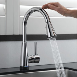 Brizo Venuto SmartTouch Faucet - It's a different world that the one our parents grew up in, no matter what your age! We're way more concerned about hygiene and food prep than ever before...and more aware of universal design needs. If you're cleaning a chicken and don't want to have to wipe down the faucet obsessively everytime you use it, a faucet with SmartTouch technology is your new friend! And this isn't the kind where you have to wave your hand in front of a laser detector!!