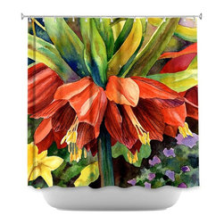 DiaNoche Designs - Shower Curtain Artistic - Fritillaria - DiaNoche Designs works with artists from around the world to bring unique, artistic products to decorate all aspects of your home.  Our designer Shower Curtains will be the talk of every guest to visit your bathroom!  Our Shower Curtains have Sewn reinforced holes for curtain rings, Shower Curtain Rings Not Included.  Dye Sublimation printing adheres the ink to the material for long life and durability. Machine Wash upon arrival for maximum softness. Made in USA.  Shower Curtain Rings Not Included.