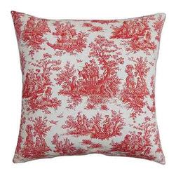 The Pillow Collection - Lalibela Red 18 x 18 Toile Throw Pillow - - Pillows have hidden zippers for easy removal and cleaning  - Reversible pillow with same fabric on both sides  - Comes standard with a 5/95 feather blend pillow insert  - All four sides have a clean knife-edge finish  - Pillow insert is 19 x 19 to ensure a tight and generous fit  - Cover and insert made in the USA  - Spot clean and Dry cleaning recommended  - Fill Material: 5/95 down feather blend The Pillow Collection - P18-PP-JAMESTOWN-LIPSTICK-C100