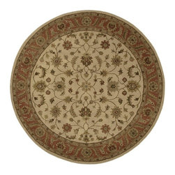 Surya - Crowne Hand-Tufted Tan 8 Ft Round Area Rug - CRN6004-8RD - Timeless and traditional with a classic floral pattern, this hand tufted wool rug will be a spirited addition to any decor. Finished in saturated shades of chocolate brown and beige, the round rug is handmade by artisans in India using centuries old weaving techniques and will be a treasured selection for your design. Hand-tufted. Made in India. 100% Wool