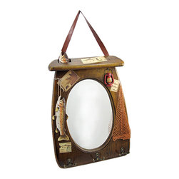Zeckos - Rustic Wooden Fisherman Wall Mirror with Hooks - This rustic wooden wall mirror is the perfect gift for the fishing enthusiast in your life It measures 18 inches tall, 12 3/4 inches wide, 3/8 of an inch deep with the oval mirror measuring 11 1/2 inches long and 7 3/4 inches wide. Details such as resin hand-painted fish, a piece of netting, and vintage inspired fishing photos add to this piece's outdoorsy charm. Hang on the wall by the brown pleather strap with a 7 inch drop as a decorative piece, or attach securely by the hooks on the back. There are three metal double hooks along the bottom edge to hang your favorite fly vest, lucky hat and a few other accessories.
