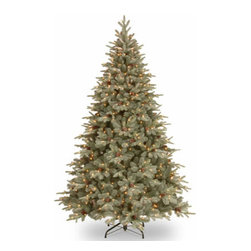 7 1/2 Ft. Feel Real Frosted Spruce Christmas Tree w/ 750 Clear Lights - Measures 7.5 feet tall with 59 inch diameter. Features FEEL-REAL branch tip technology for remarkable realism! Pre-lit with 750 UL listed, pre-strung Clear lights. Tip count: 2173. All metal hinged construction (branches are attached to center pole sections). Comes in three sections for quick and easy set-up. Includes sturdy folding metal tree stand. Light string features BULB-LOCK to keep bulbs from falling out. If one bulb burns out then the others remain lit. Fire-resistant and non-allergenic. Includes spare bulbs and fuses. 5-year tree warranty / 2-year lights warranty. Packed in reusable storage carton. Assembly instructions included.