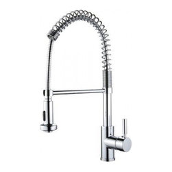 YOSEMITE HOME DECOR - Spring Pull-out Kitchen Faucet - Washerless Cartridge Single Handle Pull out Kitchen Faucet  Finish with 2FT extended hose No pop up drain included Polished Chrome