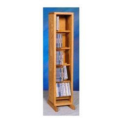 Wood Shed - Dowel CD Storage Tower (Unfinished) - Finish: UnfinishedFive shelves. Capacity: 70 CD's. Made from solid oak. Honey oak finish. 7.25 in. W x 12.25 in. D x 34 in. H
