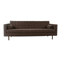 ecofirstart - THE RANDOLF SOFA - Buttoned up but never boring, this dapper sofa gives you the best of retro and contemporary in one chic, comfy package. With clean lines and gorgeous craftsmanship wrapped in rich, chocolatey fabric, it makes curling up on the couch feel extremely stylish.