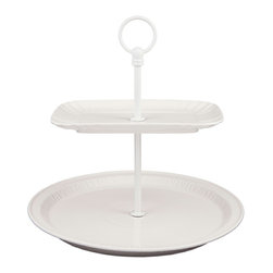 Ceramic Cake Stand - This glossy, white cake stand would look perfect on a traditional, modern or eclectic tabletop. That is just one reason I love it so!